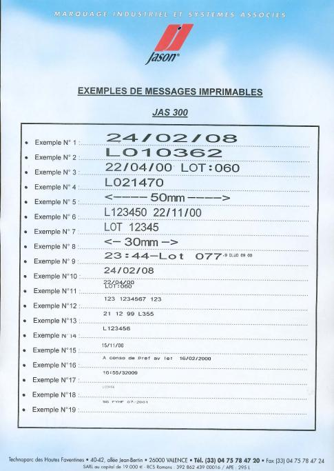 Exemples de marquage Jas 300 Indus